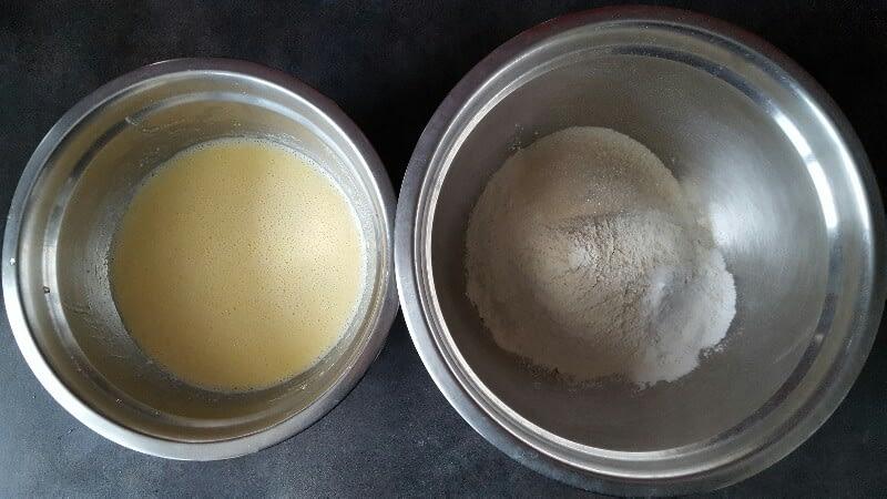 Recette pancakes américains ingrédients secs et ingrédients liquides